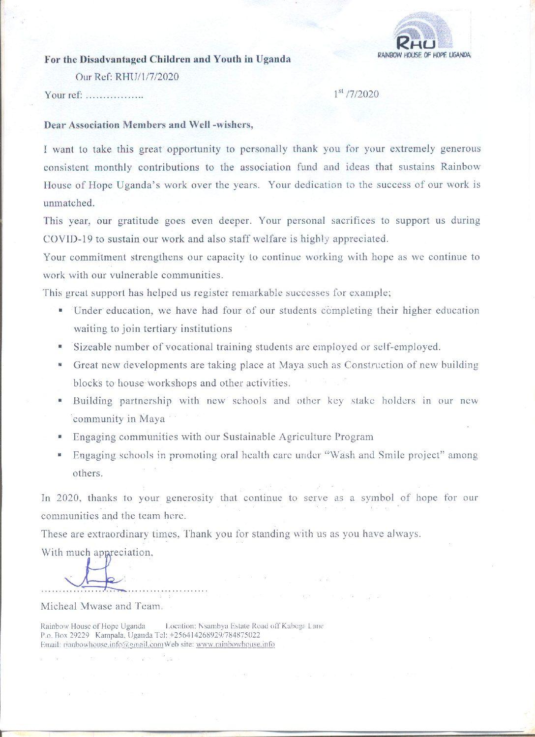 Dankesbrief von Micheal Mwase